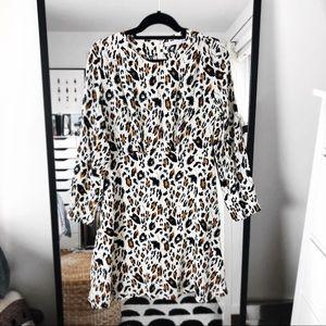 & other stories leopard cheetah long sleeve dress